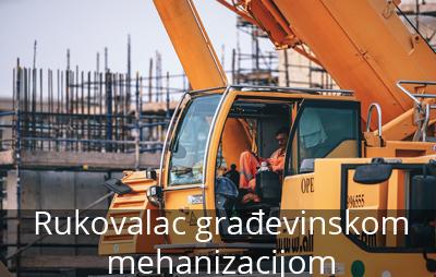 Rukovalac gradjevinskom mehanizacijom rukovodi mehanizacijom koja je namenjena za svrhu građevinarstva i njima izvršava kopačke radove kao i transportovanje određene količine zemlјišta za određene prilike.